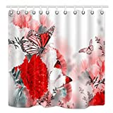 DYNH SPA Home Shower Curtain, Flowers Monarch Butterflies Theme Floral Therapy Zen Reflection, Mildew Resistant Polyester Fabric Bathroom Decor, Bath Curtains Accessories, with Hooks, 69X70 Inches