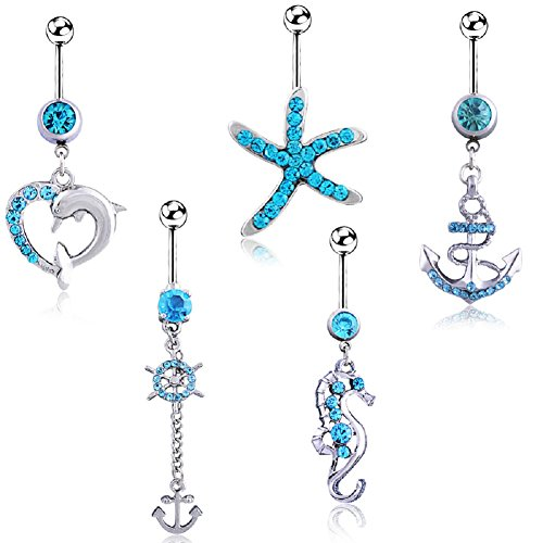 Power Wing Belly Button Rings Dangle Sexy for Women,Navel Rings Set Surgical Steel Barbell Jewelry
