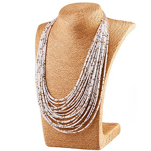 - Winter's Secret White New Multi-layered Rice Beads Chain Necklace for the Bohemian Drop of Vintage Jewelry