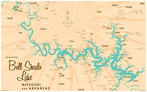 Bull Shoals Lake MO Arkansas Map Vintage-Style Art Print by Lakebound (24