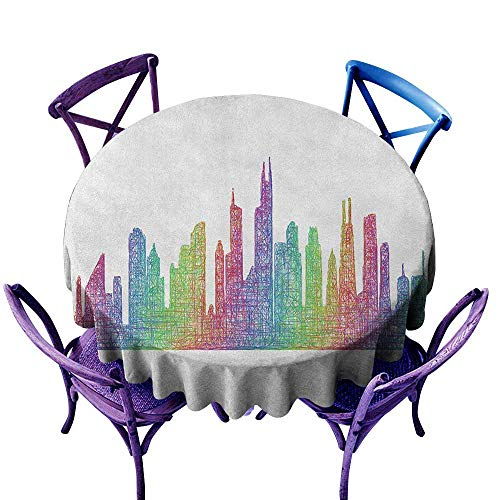 ONECUTE Spillproof Tablecloth,Chicago Skyline Abstract City Scene in Mixed Rainbow Tones Modern Featured Artful Kitsch,for Events Party Restaurant Dining Table Cover,35 INCH Multicolor]()