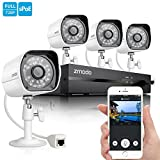 Zmodo Smart PoE 720P HD Security Camera System 4 x 720P Outdoor Night Vision Surveillance Camera No Hard Drive