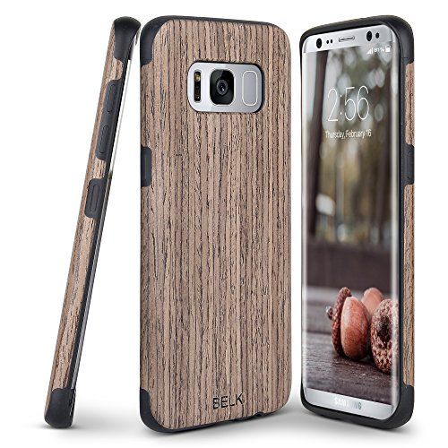 Price comparison product image Galaxy S8 Case, BELK [Slim to Beat] Soft Wood Air Cushion Premium Rubber Bumper [Thin Light] Flexible TPU Back Cover, Shock Resistant Wooden Armor for Samsung Galaxy S8 - 5.8 inch, Walnut