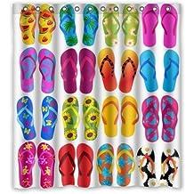 "Hot Sale Shop Custom Waterproof Polyester Bathroom Fabric Shower Curtain decor 66"" x 72"" Colorful Beach Flip Flops Print"
