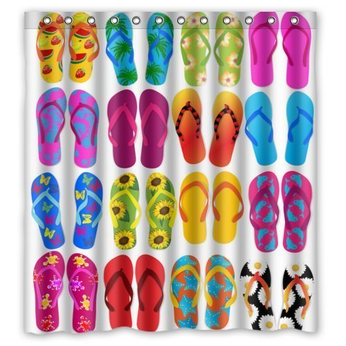 "Hot Sale Shop Custom Waterproof Polyester Bathroom Fabric Shower Curtain decor 66\"" x 72\"" Colorful Beach Flip Flops Print"