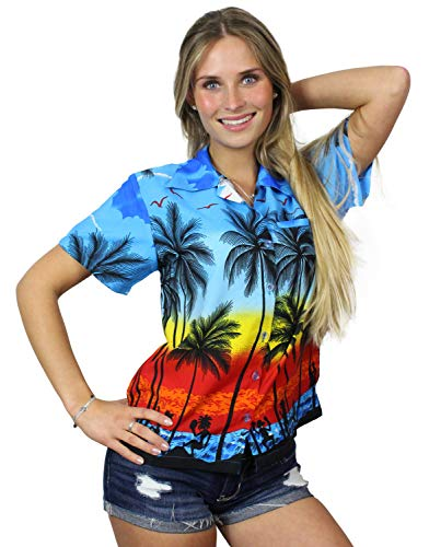 King Kameha Funky Hawaiian Blouse Shirt, Shortsleeve, Beach, Blue, L ()