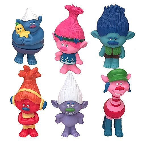 Trolls Set of 6, 3-Inch-Tall Movie Trolls Action Figures - Trolls Poppy, Branch, Biggie, Cooper, DJ Suki, Guy Dimond,Trolls Cake Toppers]()