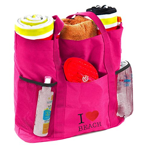 25b14ce6e1 B C Tote Beach Bag (Pink)- Travel Folding Bag- Large Tote Bag With Many  Pockets- Includes Waterproof PVC Pouch - Buy Online in UAE.