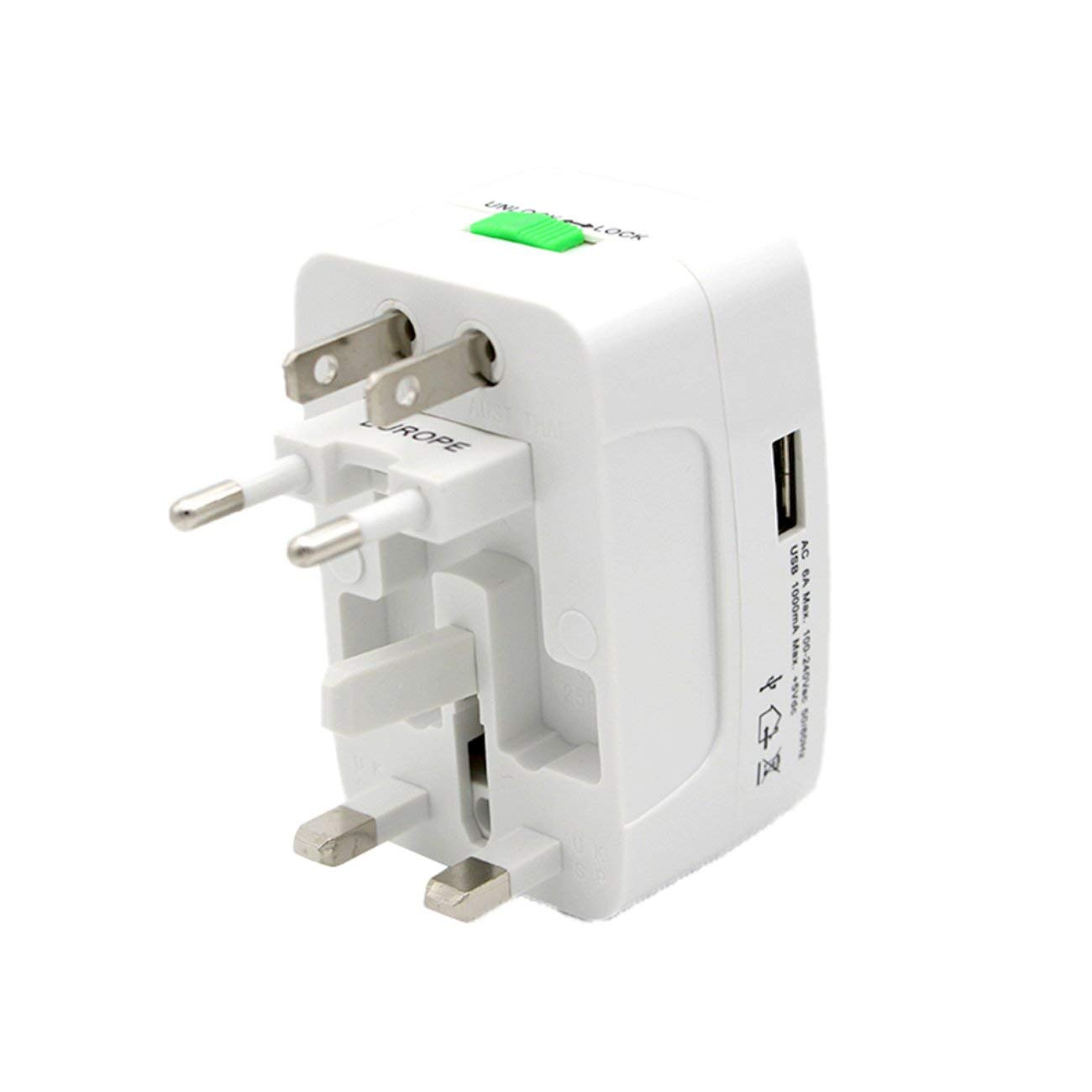 Blanco Socialism Adaptador de Enchufe de Enchufe el/éctrico Adaptador de Viaje Internacional Convertidor de Cargador de Corriente USB de Viaje Universal