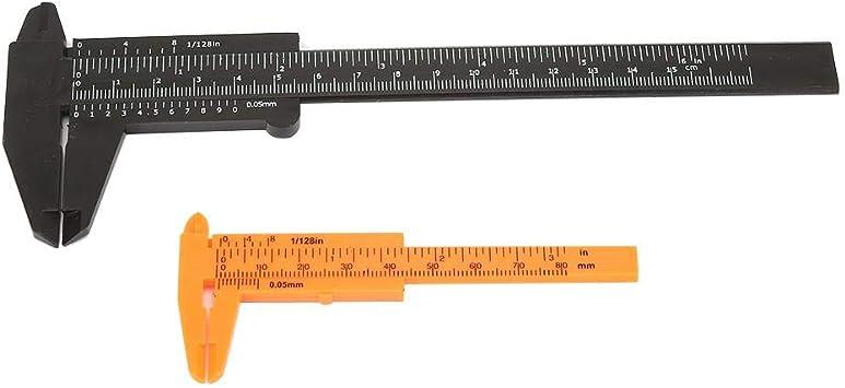 80 mm//150 mm Pl/ástico Mini regla de doble escala Vernier Calibrador Calibrador Herramienta de medida Blanco Zerone Calibrador Vernier