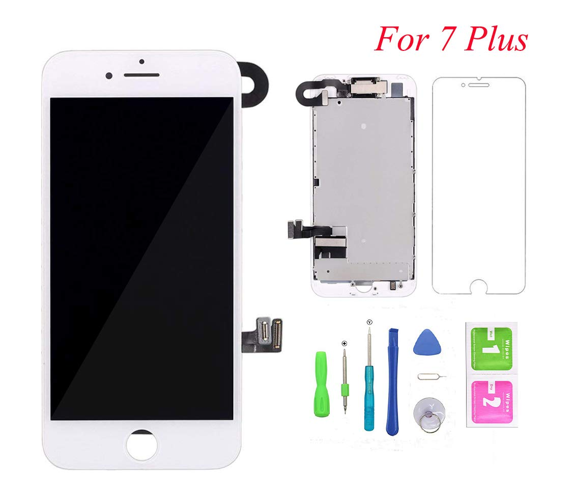 Screen Replacement for iPhone 7 Plus, LCD Display and Touch Screen Digitizer Replacement Full Assembly with Proximity Sensor+Ear Speaker+Front Camera+Screen Protector and Repair Tools (White,5.5)
