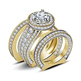 Silvercz Jewels 4ct Diamond 14k Yellow Gold Fn 925 Silver Ladies Engagement Wedding Ring Trio Set