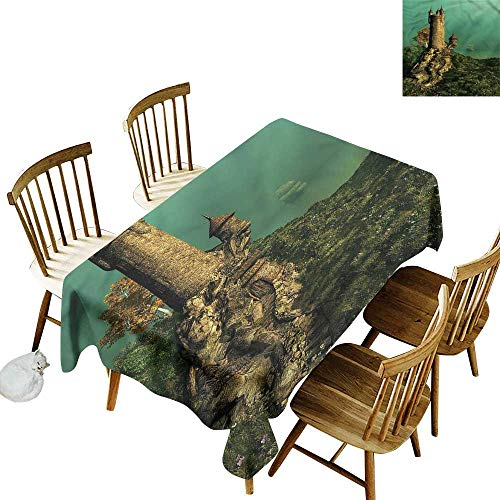 Spill-Proof Table Cover Medieval Tower of Magician on Hill Dinner Picnic Table Cloth Home Decoration 52
