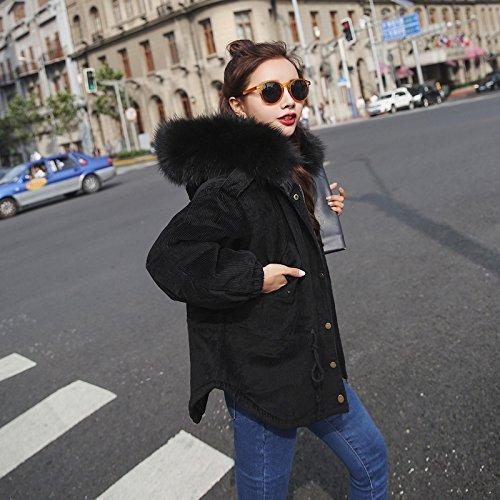 Xuanku Cotton Jacket Female Short Paragraph Loose Winter Wool Collar Cotton Wool Corduroy Cotton Jacket Jacket Female Black