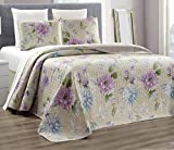 2-Piece Fine printed 100% COTTON Chic Quilt Set Reversible Bedspread Coverlet TWIN Bed Cover (Taupe , Blue, Purple Flower)