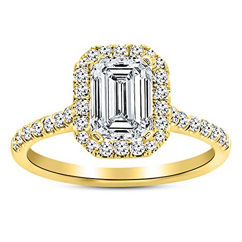 1.26 Carat GIA Certified 14K Yellow Gold Halo Emerald Cut Diamond Engagement Ring (0.51 Ct E Color VS2 Clarity Center) ()