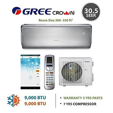 GREE Crown 9,000 BTU Ductless Mini Split Heat Pump System 30.5 SEER (208/230V)
