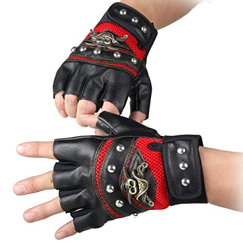 STUDYY Studded Gloves Steampunk Gothic Gloves Punk Costume Rivet Motorcycle Car Driving Gloves Captain Fingerless Mittens 80s Rocker Costume Accessory]()