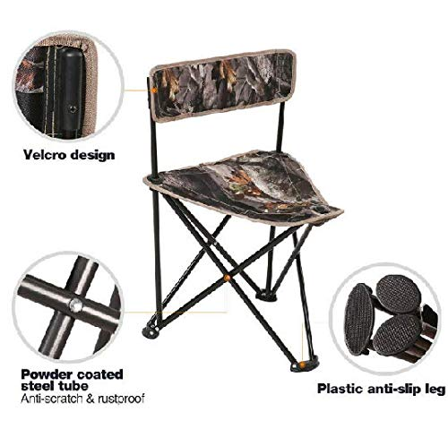 Table & Chair Sets Folding Tripod Chair Backrest for Camping Hunting Table Camo - Two Stools