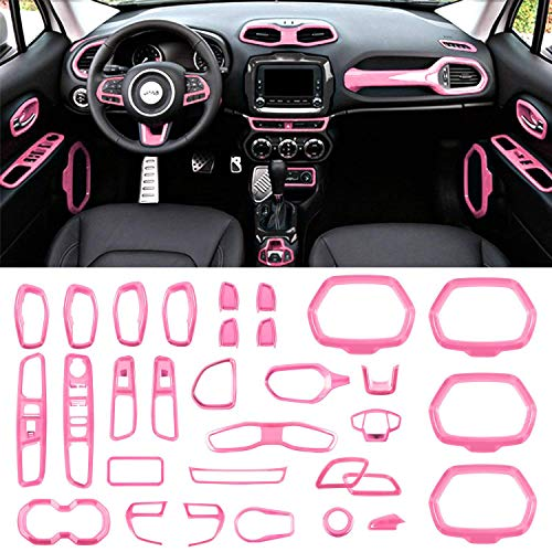Danti Car Interior Accessories Decoration Trim Air Conditioning Vent Decoration & Door Speaker & Water Cup Holder & Headlight Switch & Window Lift Button Covers for Jeep Renegade 2015-2018 (Pink) -