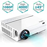 """1080p Projector, 2019 Newest ABOX A6 1080p Native Resolution LED Projector, 200 ANSI Lumen Brightness Home Theater Projector with 67-240"""" Screen, 30% Reduction Noise, Support HDMI USB SD Card VGA AV for Home Entertainment"""