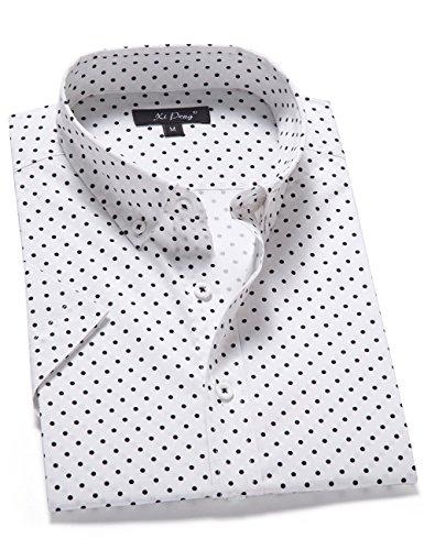 XI PENG Men's Casual Dress Cotton Polka Dots Short Sleeve Fitted Button Down Shirts (Small, Mini Polka Dot-White)