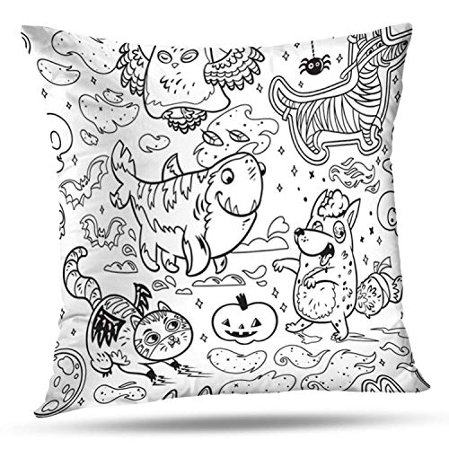 LALILO Set of 2 Throw Pillow CoversFantasy Halloween Ink with Funny Cartoon Animals Owl Ghost Four Leg Double-Sided Pattern for Sofa Cushion Cover Couch Decoration Home Bed Pillowcase 18x18 inch