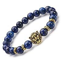 Hecho a mano Joyería natural lazurita piedra / chapado en oro de cabeza de León, mens 8 mm perlas pulseras de elástico para mujeres y niñas