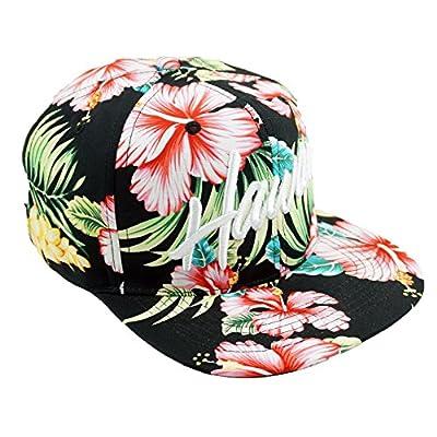 Bingoo Hawaii Floral Embroidery Snapback Hat Summer Beach Trip Adjustable Baseball Cap