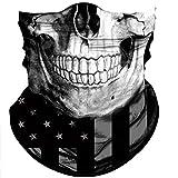 Obacle Skull Face Mask Sun UV Dust Wind Protection Tube Mask Seamless Bandana Skeleton Face Mask for Men Women Bike Riding Motorcycle Cycling Biker Outdoor Festival (Black Gray Skull White Face Flag)