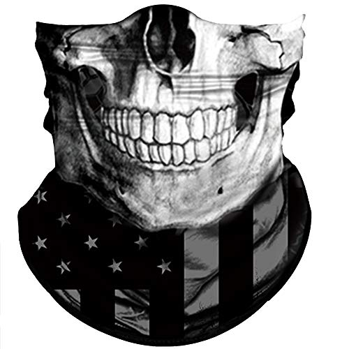 (Obacle Skull Face Mask Half Sun Dust Wind Protection, 3D Tube Mask Seamless Durable Face Mask Bandana Skeleton Face Mask Motorcycle Bike Riding Fishing Hunting Cycling Festival, Many)