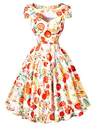Belle Poque Women Vintage Cocktail Swing Dresses 1950s Short Sleeve Hollowed Front Dress BP08