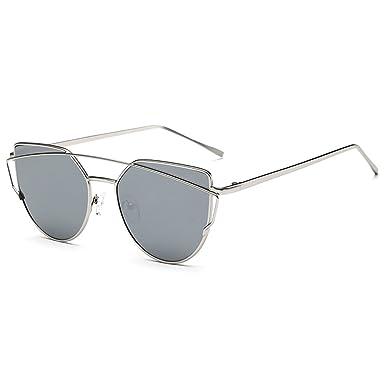 MEIHAOWEI Femme Vintage Cat Eye Sunglasses Metal Frames Mirror Shades Color 8 tN2aBGRw7