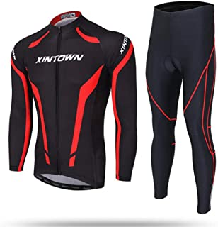 Men's Cycling Jersey Suit,Summer Long Sleeve Suit,Mens Cycling Clothing Set Outdoor Sport Bicycle Bike Suit (T-Shirts Pants) GAOQIANG