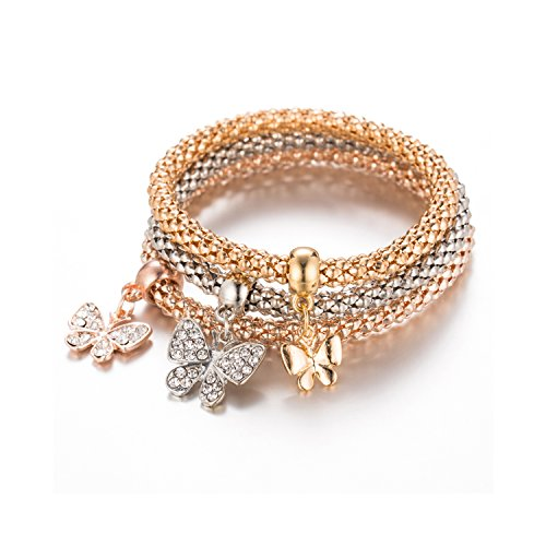 Young & Forever Trendsetter Collection Rose Gold Silver And Gold Plated Pack Of 3 Butterfly Charms Bracelet For Women / Girls B829 by Young & Forever
