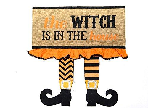 Mud Pie Halloween Decor Witch Legs Pillow Wrap