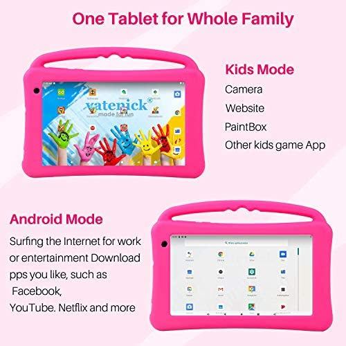Kids Tablet 7 Inch IPS HD Display QuadCore Android 10.0 Pie Tablet PC For Kids - GMS Certificated Dual Cameras 2GB RAM 32GB ROM WiFi With Handheld Kids-Proof Silicon Case For Kids Educational (Pink)