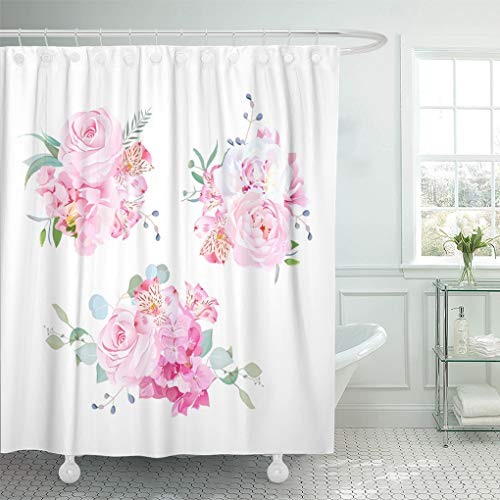 Emvency Shower Curtain Gentle Mix of Pink Bouquets Rose Alstroemeria Lily White Peony Hydrangea Eucalyptus Plants and Herbs Shower Curtains Sets with Hooks 60 x 72 Inches Waterproof Polyester Fabric