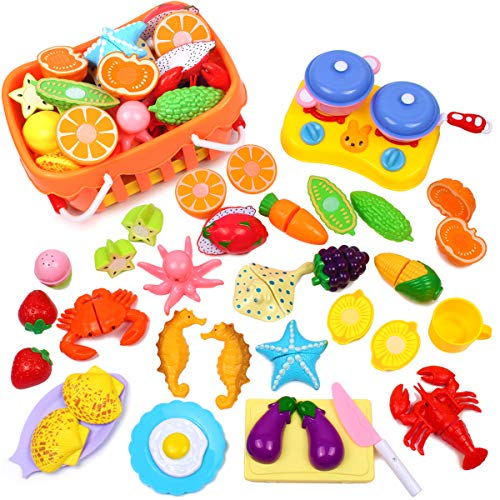 AMOSTING Kids Pretend Food Play Kitchen Toys for Kids, Plastic Food Fruit Cutting Set for Kids Play Kitchen Set, 20 Piece Kitchen Play Food for Kids Learning Gifts Early Educational Toys -