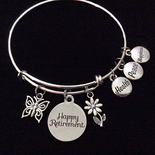 Health Peace Happiness Happy Retirement Butterfly Daisy Flower Expandable Silver Charm Bracelet Adjustable Wire Bangle Office Gift Retire Retiree