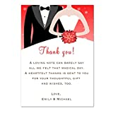 30 Thank You Cards Red Bride And Groom Winter Party Snowflake Bouquet Wedding Bridal Shower Greeting Card Photo Paper