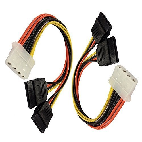 2Pack 4 Pin IDE Molex to Dual SATA Power Y-Cable Adapter 8.67 Inches