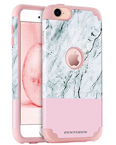 iPod Touch 5 Case, iPod 6 Case Marble, BENTOBEN Marble Design Ultra Slim Dual Layer Hybrid Hard PC Flexible Soft Silicone Scratch Resistant Protective Case for iPod Touch 5 6th Generation, Rose Gold
