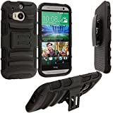 Cell Accessories For Less (TM) Black Hybrid Heavy Duty Hard/Soft Case Cover with Holster for HTC One M8 Bundle (Stylus & Micro Cleaning Cloth) - By TheTargetBuys