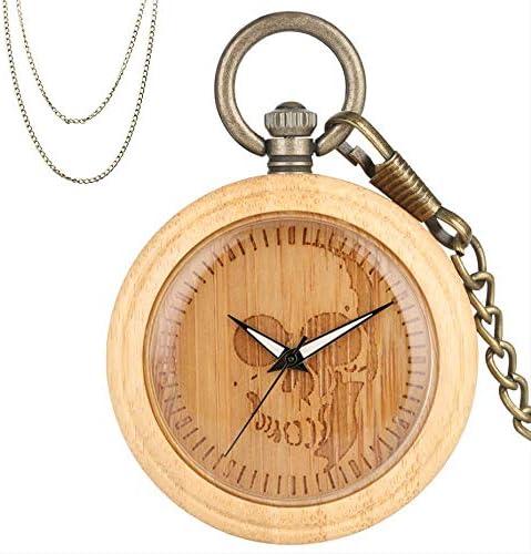 FYXYN Orologio da tasca Orologio da taschino in legno di bambù al quarzo Incisione design teschio Quadrante rotondo Pendente retrò Orologio da regalo in legno