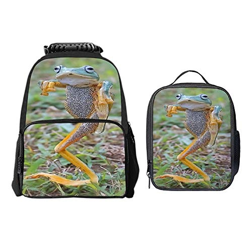SARA NELL Boys Girls Students Hip Hop Frog Polyester School Backpack and Lunch Bag 2 Sets