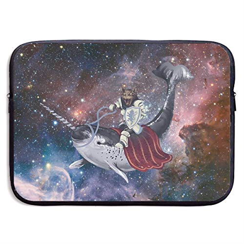 (Cat with Shield Riding Blue Narwhal Funny Space Whale Laptop Sleeve Case Bag Cover Computer for 13)