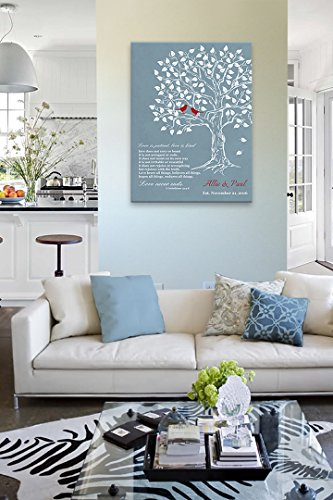 MuralMax - Personalized Family Tree & Lovebirds, Stretched Canvas Wall Art, Make Your Wedding & Anniversary Gifts Memorable, Unique Decor, Color Blue # 4 - 30-DAY - Size - 20x24 by MuralMax (Image #3)