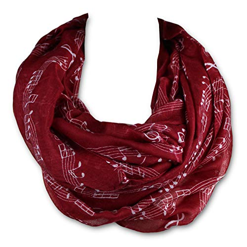 KnitPopShop Music Note Infinity Loop Scarf for Women in the Summer (Red)