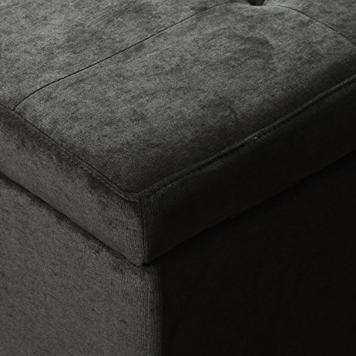 Asensefurniture Microfiber Rectangle Tufted Lift Top Storage Ottoman Bench, Footstool with Solid Wood Legs, Nailhead Trim